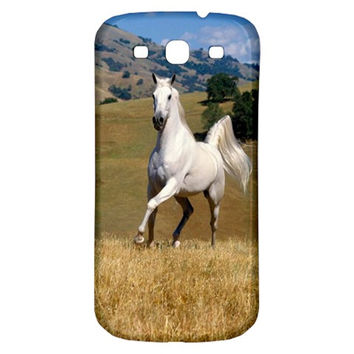 Going Forward With Strength And Confidence White Horse Running On Hill Samsung Galaxy S3 S III Classic Hardshell Back Case