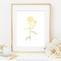 THISTLE WILDFLOWER 2 Faux Gold Foil Art Print - White & Gold - Home Decor Wall Art - Imitation Gold Leaf - Home Office Decor - Botanical Art