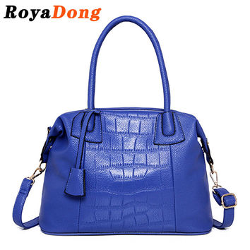 RoyaDong 2016 Women's Handbags Pu Leather Alligator Shoulder Bags Vintage Boston Crossbody Bags For Women