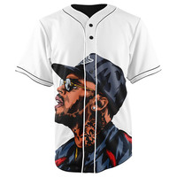 Chris Brown White Button Up Baseball Jersey