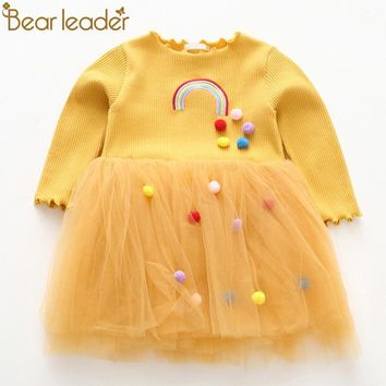 Bear Leader Girls Dresses 2018 New Fashion Princess Clohting Rainbow Embroidery Hairball Decoration Net Yarn Puff Dress For3-7Y