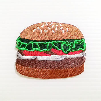 Hamburger Patch - American Food New Iron On Patch Embroidered Applique Size 6.7cm.x5.5cm.