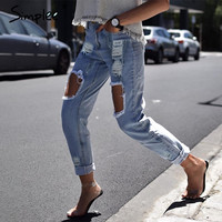Casual hollow out blue denim jeans capris Vintage summer hole ripped jeans female Cool boyfriend streetwear jeans pants
