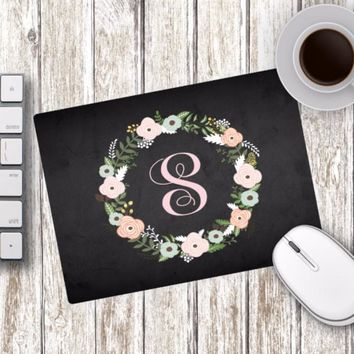 Flower Wreath Monogram Mouse Pad