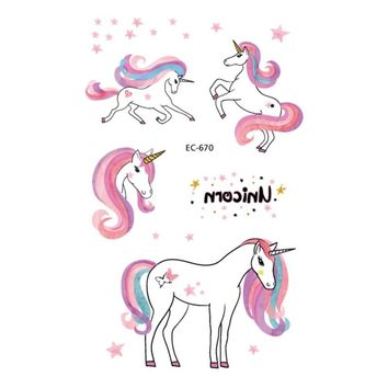 1pc Unicorn Temporary Tattoo Sticker Wand Rod Rainbow Cartoon Cute Horse Dream Balloon Decals Women Girl Body Hand Arm Art New