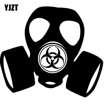 YJZT 11.5*10.4CM Fashion Hazard Gas Mask Toxic Steampunk ZOMBIE Vinyl Decal Car Sticker Black/Silver S8-1294