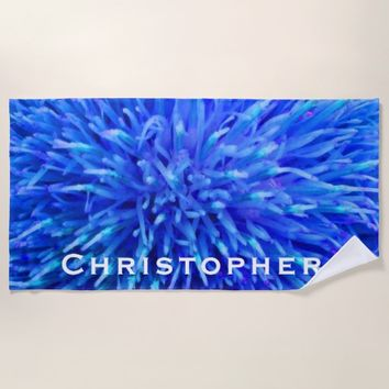Blue Abstract Beach Towel with White Name
