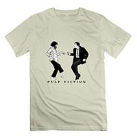 LFL-Men's Pulp Fiction Dance O-neck T-shirt Natural