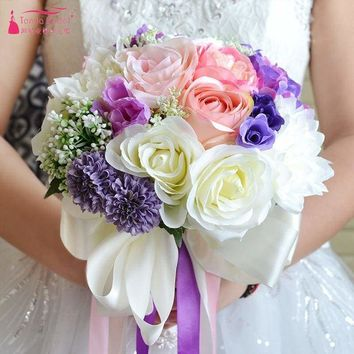 New Artificial Flowers Peony Wedding Bridal Bouquet