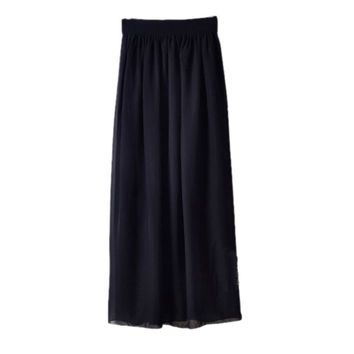 New Summer Women Double Layer Pleated Chiffon Elastic High Waist Long Maxi Skirt