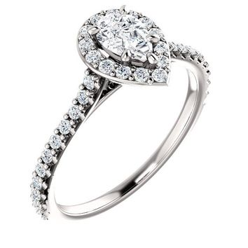 0.50 Ct Pear Diamond Engagement Ring 14k White Gold
