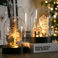 Miz 1 Piece Glass Lid Christmas Gifts Ornament Christmas Decoration Bulbs AA Battery Desk Accessories