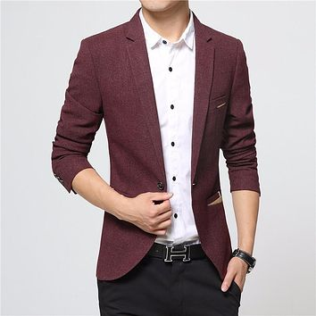 New Brand Spring Masculine Blazer Men Fashion Slim Fit Suit Men Casual Solid Color Suit Blazers Male Clothing