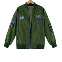 Plus Size Army Green Patch Bomber Jacket