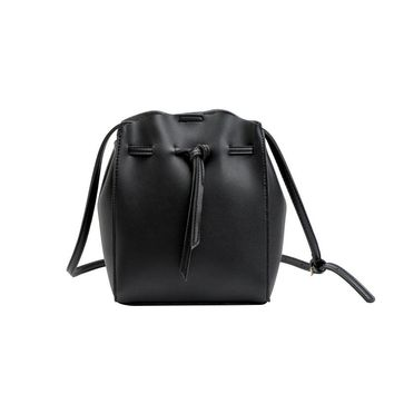 Brief Design Drawstring Women's Bucket Shoulder Bags Solid PU Leather Messenger Bag For Female Ladies Crossbody Bags