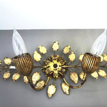 Italian Tole Light Sconce Glass Petals Brass Leaves Wall Art