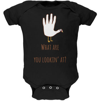 Thanksgiving Turkey What Are You Looking At?  Black Soft Baby One Piece
