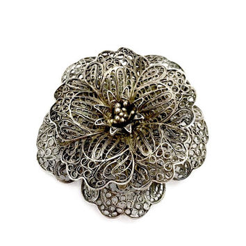 Mexican Silver Flower Brooch, Filigree Silver Wire Sculpted, Layered Petals, 3 Dimensional, Handcrafted, Mid-Century, Vintage Gift for Her