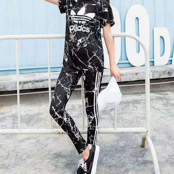 """Adidas"" Women Fashion Clover Stripe Letter Print Short Sleeve Trousers Set Two-Piece Sportswear"