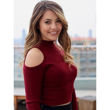 Cold Shoulder Knitted Crop Sweater