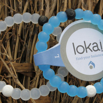 White and  Blue Lokai Bracelet Mud From Dead Sea And Water From Mount Everest S M L
