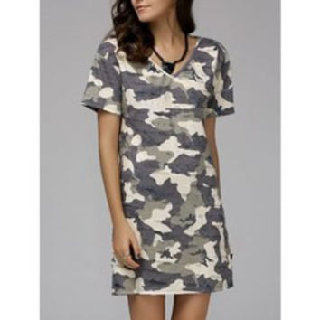 Fashionable V-Neck Short Sleeve Camo Print Women's Mini Dress
