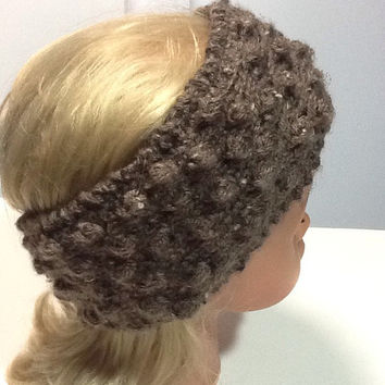 Fleece lined knitted headband in a unique knobby knit pattern, barley brown acrylic yarn with black polyester fleece