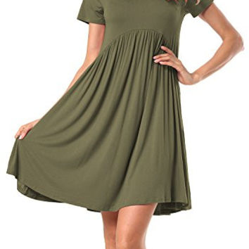 Short Sleeve Scoop Neck Pleated Loose Swing Casual Dress