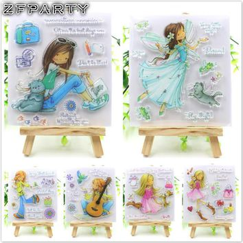 ZFPARTY Girls Transparent Clear Silicone Stamps for DIY Scrapbooking/Card Making/Kids Fun Decoration Supplies