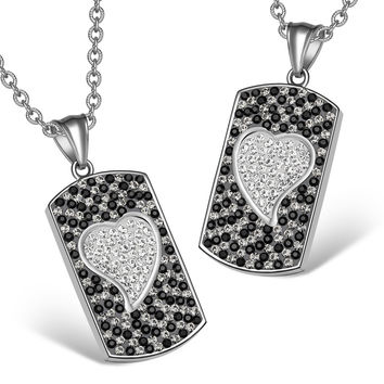 Magic Hearts Austrian Crystal Love Couples or Best Friends Dog Tag White Jet Black Lucky Charm Necklaces