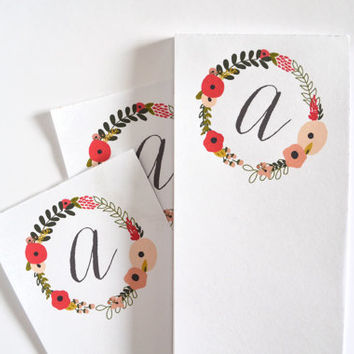 Personalized Notepad | Illustrated Floral Monogram Notepad : Blooming Wreath Collection