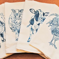 Tea Towels - Set of 4 - Screen Printed Organic Cotton - Teal Rooster Pig Sheep Cow Towels - Farm Animals Make Cute Wedding Gifts