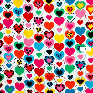 Cotton Fabric, Heart Fabric - Colorful Hearts