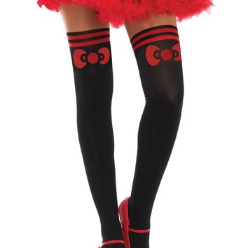 Leg Avenue Female Hello Kitty Bow Spandex Opaque With Sheer Thigh Accent HK7958