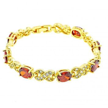 Gold Layered Tennis Bracelet, with Cubic Zirconia, Gold Tone