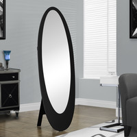 Black Contemporary Oval Cheval Mirror