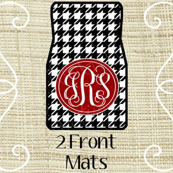 Custom Personalized Set of Car Floor Mats - Front set, Monogrammed Car Mats, Houndstooth