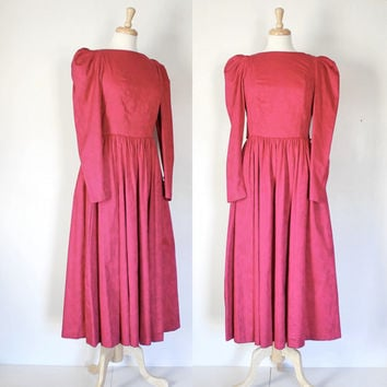 Vintage Laura Ashley Fit and Flare Cotton Brocade Maxi Dress
