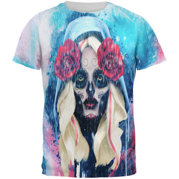 Halloween Day of the Dead Sugar Skull Girl Rain All Over Mens T Shirt