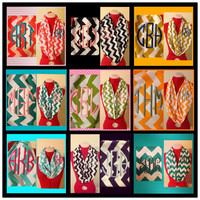 Monogrammed infinity scarf by JennieBellDesigns on Etsy