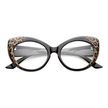 Retro 1950's Pointed Cat Eye Clear Lens Glasses 9646