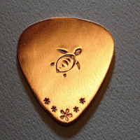 Copper guitar pick with sea turtle by NiciLaskin on Etsy