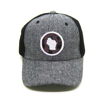 Wisconsin Trucker  Herringbone Trucker Hat - Plum Buffalo Check Patch