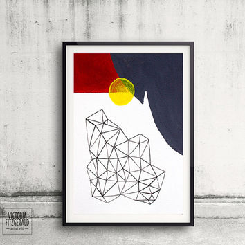 Gunmetal Grey and Crimson Red Geometric Art, Abstract Triangle Shapes A4 Print, Urban Minimalist Art, Melbourne Art