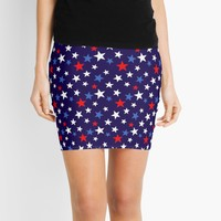 'Bold Patriotic Stars In Red White and Blue' Mini Skirt by taiche