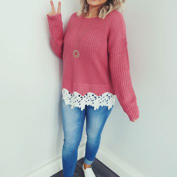 All About This Romance  Sweater: Pink/White
