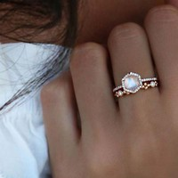 US SIZE 6 7 rose gold silver color clear cubic zirconia gorgeous stack engagement wedding set hexagon stone ring-in Rings from Jewelry & Accessories on Aliexpress.com | Alibaba Group