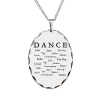 Dance Words Necklace Oval Charm