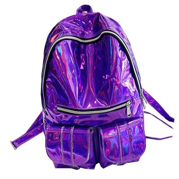 2017 Women Hologram Laser Leather Backpack Holographic Transparent Backpacks Sac a Dos School Bag For Teenagers Travel Rucksack
