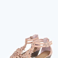 Sarah Floral Trim Demi Wedge Sandals